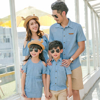 Famli 1pc Father Son Shirt Mother Daughter Dress Summer Family Baby Girl Boy Matching Casual Short