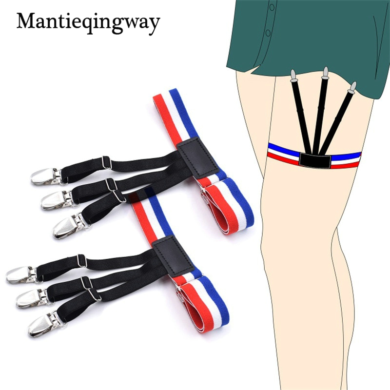 Apparel Accessories Mantieqingway Nylon Shirts Holders Suspensorio For Mens Elastic Business Garter Braces Adjustable Legs Shirts Suspenders Sales Of Quality Assurance