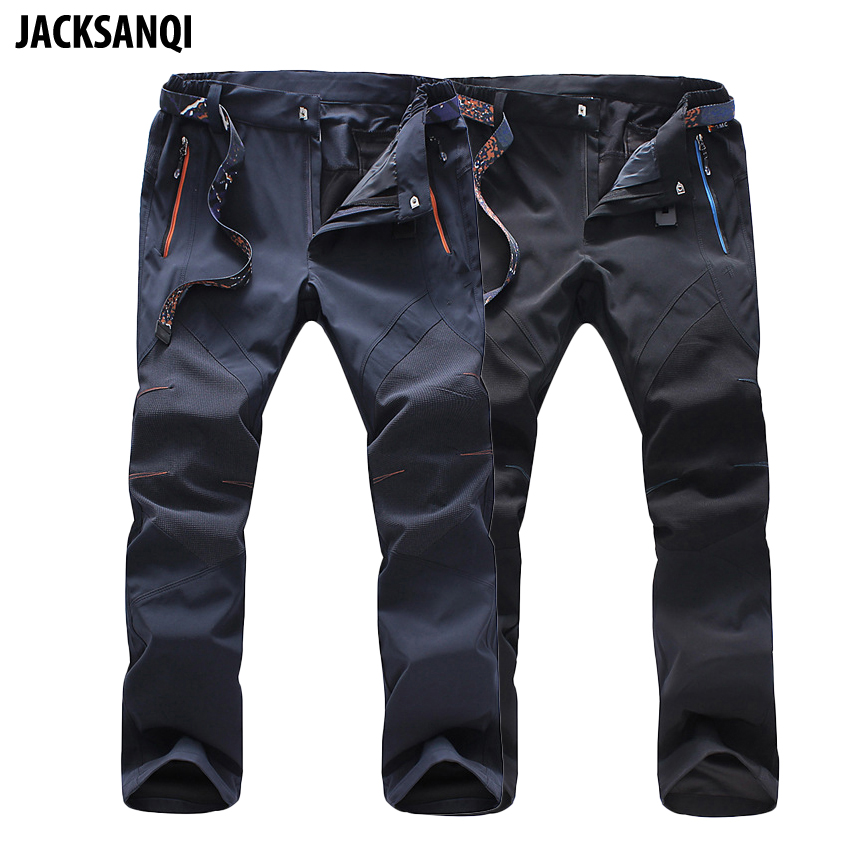 JACKSANQI Men's Summer Softshell Quick Dry Pants Outdoor Sport Waterproof Trousers Trekking Hiking Climbing Cycling 5XL RA012
