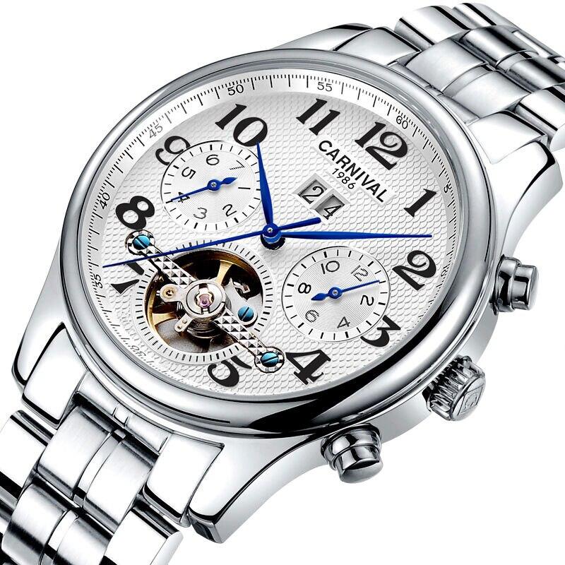 Karneval Herren Business Multifunktions Holllow out Zifferblatt Stahl Armband Automatische Mechanische Uhr silber lünette weißes zifferblatt-in Mechanische Uhren aus Uhren bei  Gruppe 2