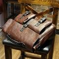 KIBDREAM Pu men briefcase vintage men's leather handbags maleta laptop shoulder bags carteira masculina Brown