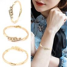 New Women Popular Elegant Golden Alloy Crystal Rhinestone Cuff Bangle Bracelet Jewelry Gift