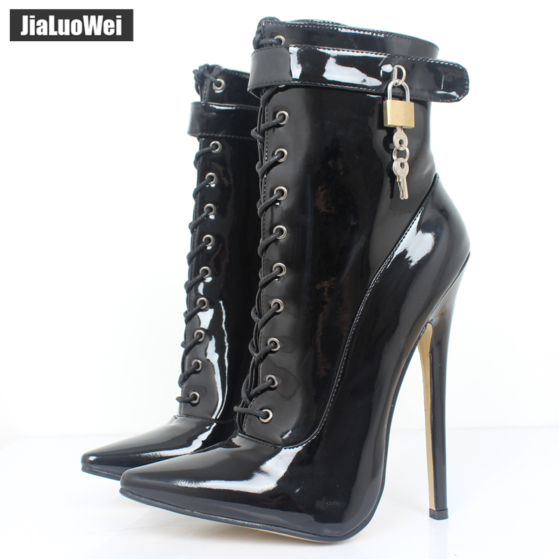 jialuowei 18CM Extreme high heel Sexy Fetish pointed-toe thin Heels motorcycle Patent Leather lace-up Lockable Ankle Strap Boots daikin ftxb 60 c rxb 60 c