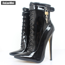 jialuowei 18CM Extreme high heel Sexy Fetish pointed-toe thin Heels motorcycle Patent Leather lace-up Lockable Ankle Strap Boots