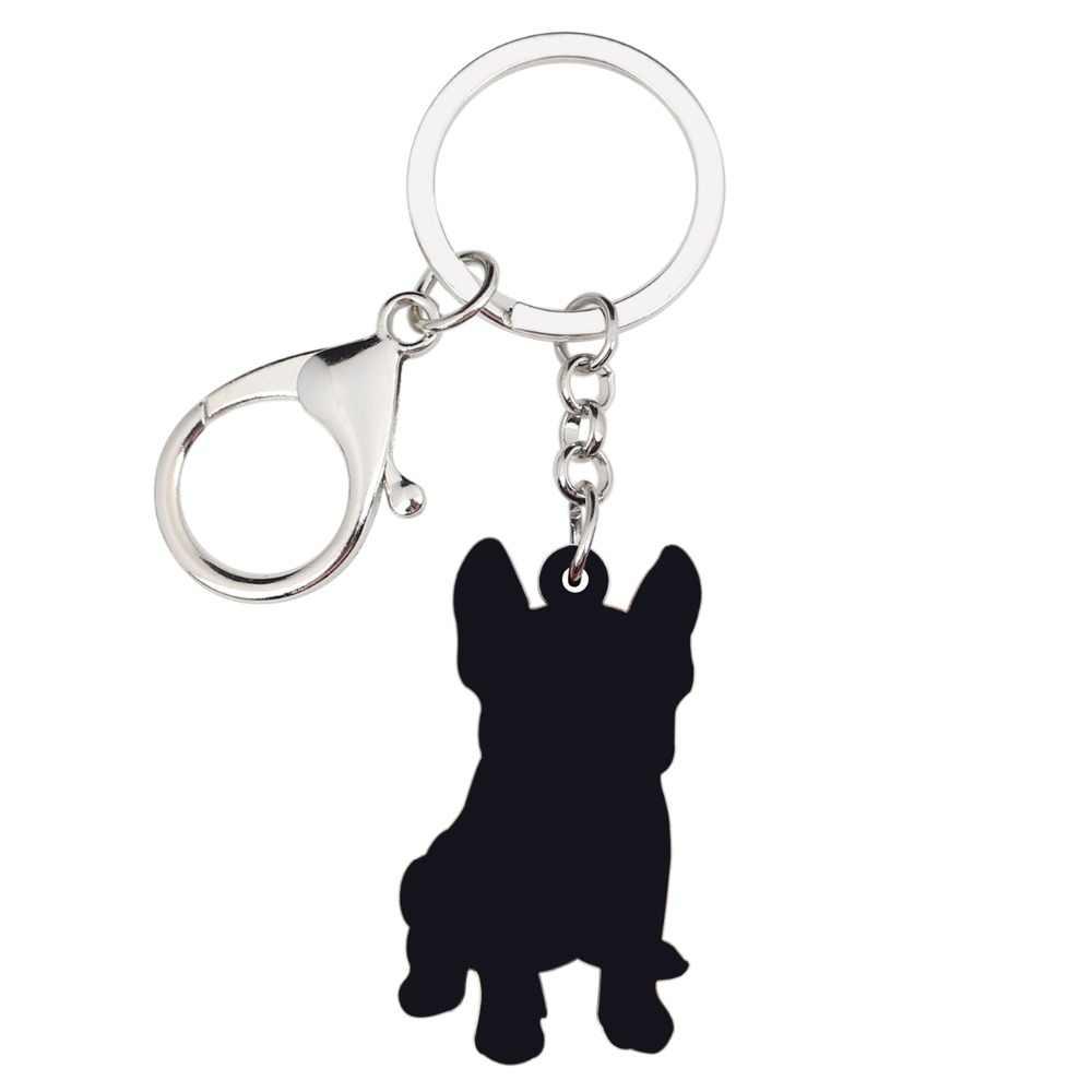 Bonsny Acrílico Sentado Francês Bulldog Puppy Dog Chaveiro Chaveiro Jóias Anéis Animais Para Mulheres Raparigas Bolsa Encantos Do Carro Animais de Estimação