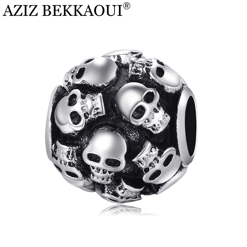 Skull beads charm fit european DIY diy bracelet necklace big hole loose beads Unique full cranial head beads fine jewelry