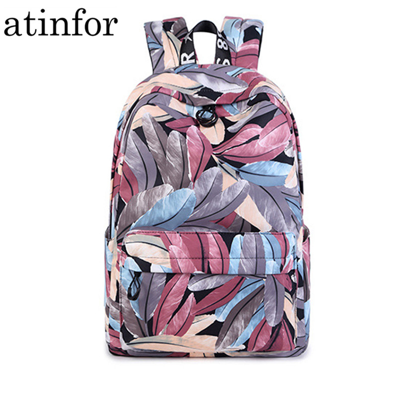 Fashion Waterproof Polyester Women Backpack Multicolor Feather Printing Girls College Laptop Bookbags Lady Travel Daypacks