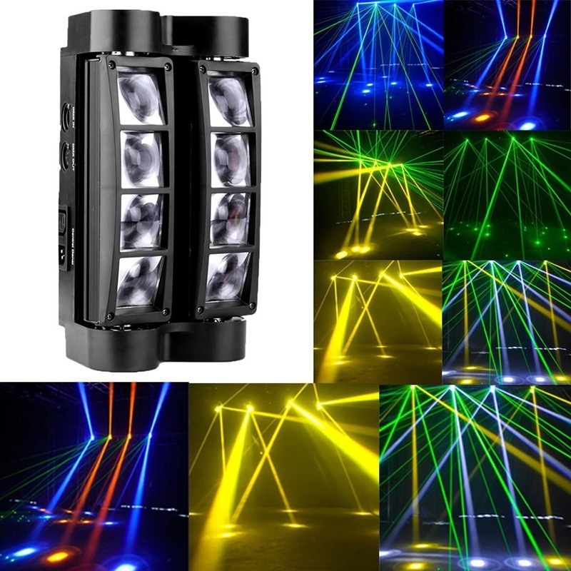 HENYNET RGBW 8x3W LED Spider Beam Moving Head Stage Lighting DMX DJ Disco Party Light 6pcs lot white color 132w sharpy osram 2r beam moving head dj lighting dmx 512 stage light for party