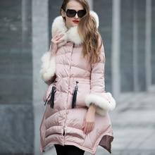 Натуральный роскошный Лисий мех воротник с капюшоном зимняя куртка для женщин Высокое качество 90% белый утиный пух парка пальто для женщин WUJ0794