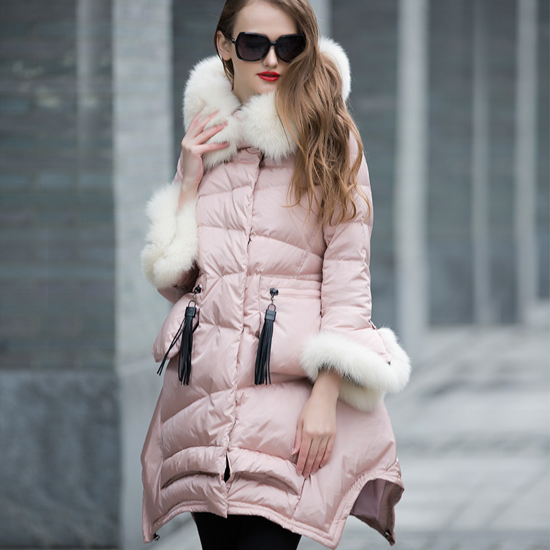 100% Natürlichen Luxus Fuchspelz Kragen Mit Kapuze Winter Jacke Frauen 2018 Hohe Qualität 90% Weiße Ente Unten Parka Mantel Weibliche Wuj0794