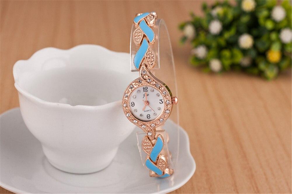 218 New Bracelet Women's Watch Colorful Ladies Steel Watch Delicate Accessories Diamond Leaf Bracelet Watch Fashion Watch ruru15070 to 218