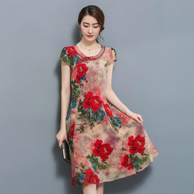 2018 New Arrival Feaday Vintage A-line Floral Short Button  Woman Temperament Summer Dresses  Xxxxl Plus Size Women