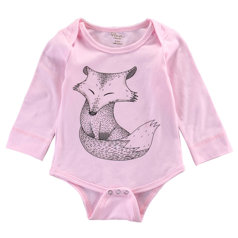 New Arrival Summer Autumn Infants Baby Clothing Girls Boys Fox Pink Bodysuit font b Jumpsuits b