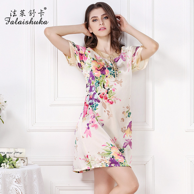100%  silk sleepwear Homewear Women Summer  floral print nightgowns fashion nightwear for woman summer sleepshirts plus size