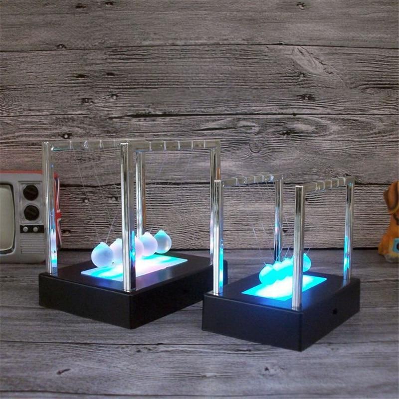 Electric Led Newtons Cradle balls decor Physics teaching Newton pendulum ball home office decoration Figurine Gift Craft