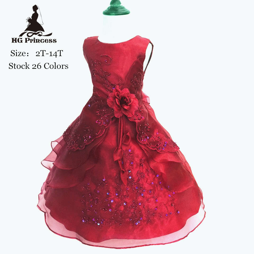 Free Shipping Cotton Lining Girls Party Dress 2T-14T Kids Evening Gowns Organza Embroidery Gold Flower Girl Dresses For Weddings