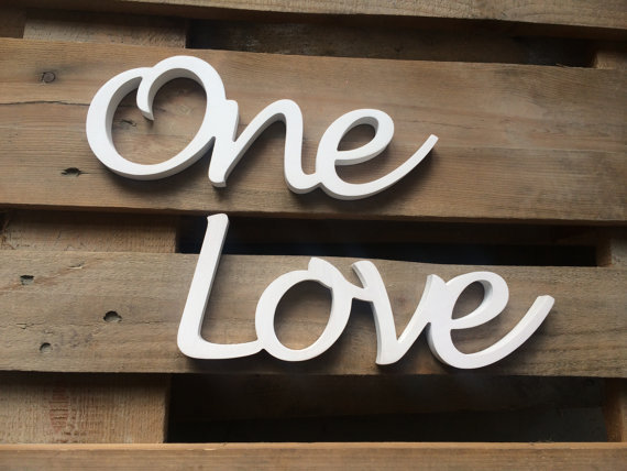 Script letters ONE LOVE sign unique gift and home decor ustom wedding gift wedding decor anniversary gift, custom PVC sign