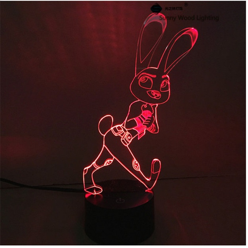Judy Rabbit switch LED 3D lamp,Visual Illusion 7color changing 5V USB for laptop,Christmas cartoon toy lamp