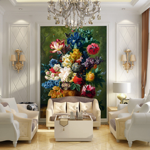 Large murals 3d custom dining wallpaper room Europe style oil painting style fashion flowers entranceway tv sofa cafe background book knowledge power channel creative 3d large mural wallpaper 3d bedroom living room tv backdrop painting wallpaper