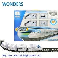 Bel regalo! grande Modello treni pista del treno elettrico Ferroviario Ad Alta Velocità treno ferrovia ferrovia tracce giocattolo Orbitale