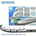 Presente agradável! grande Modelo de trens elétricos trem trilha Trilho de trem de Alta Velocidade ferroviária trilhos de trem brinquedo Orbital