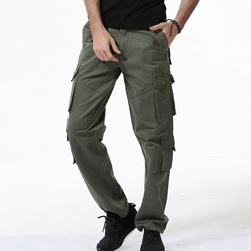 Kargo pantolon erkekler 2017 erkek askeri Çok Cepler Savaş Rahat - Erkek Giyim - Fotoğraf 2