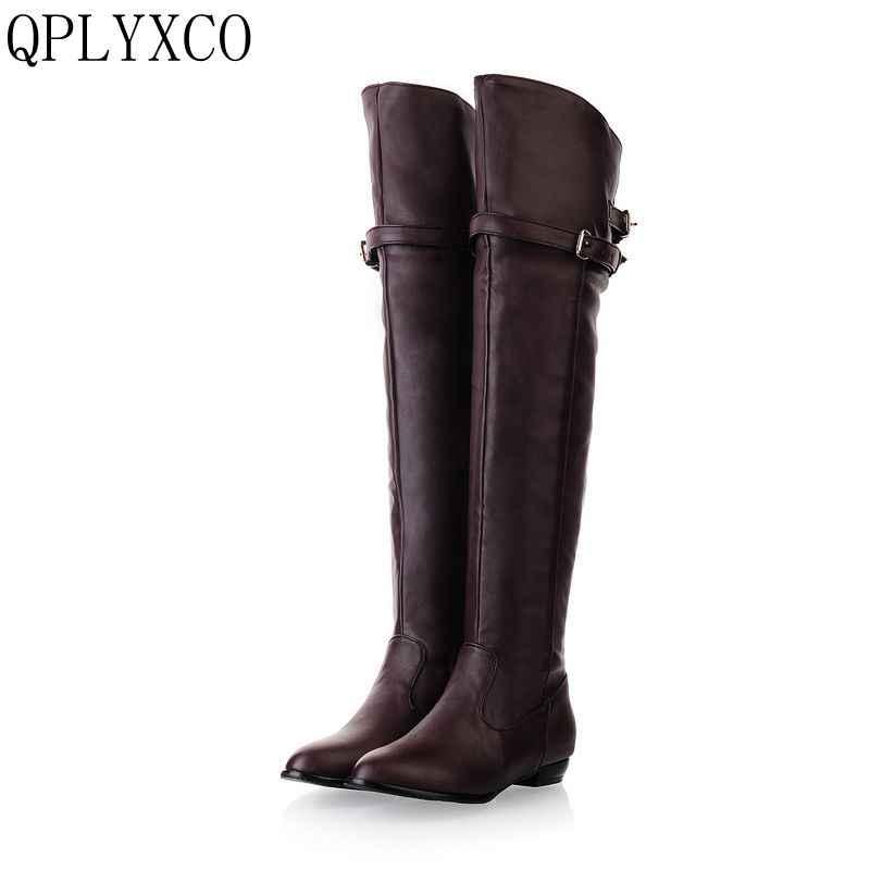 QPLYXCO 2017 Yeni Büyük boy 34-45 kadın düz çizmeler diz üzerinde kış sıcak uzun yuvarlak ayak moda botas ayakkabı ayakkabı 181
