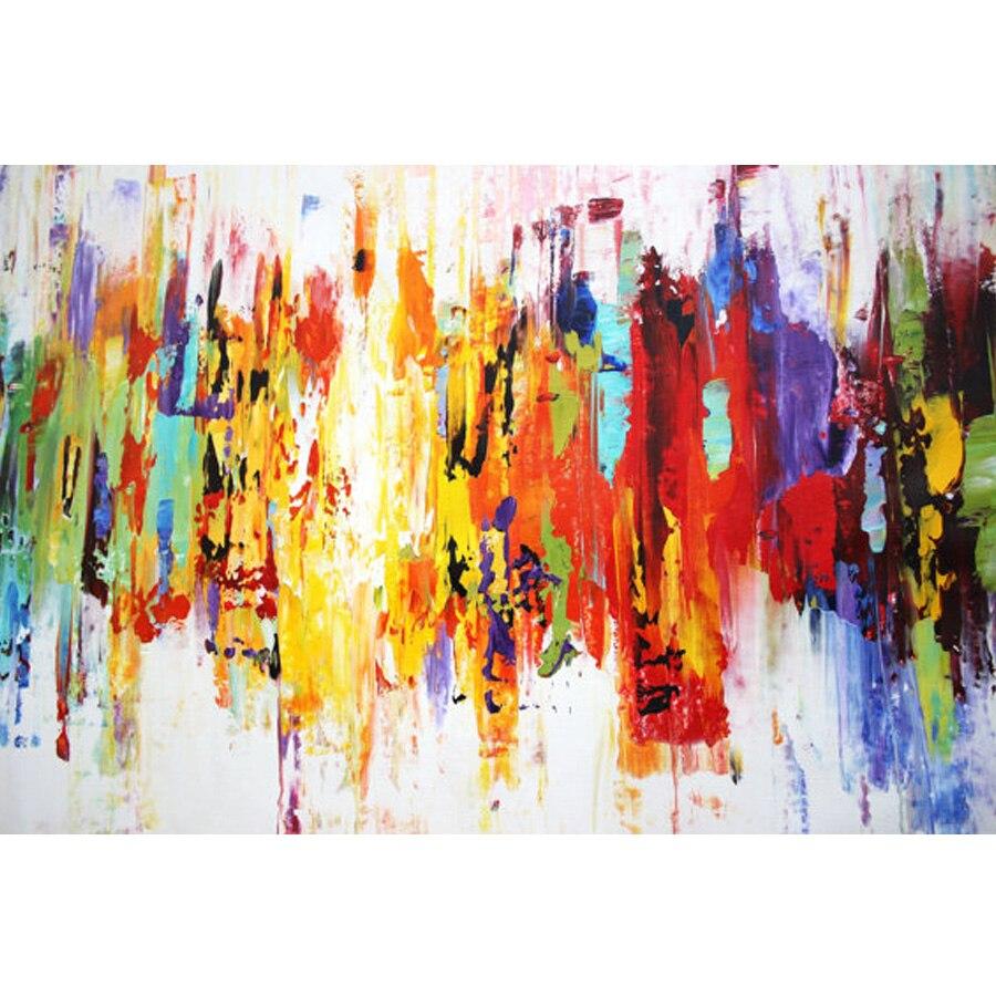 100% Əl Boyalı firuzəyi Yağlı Boyama Müasir Abstrakt Kətan - Ev dekoru - Fotoqrafiya 3