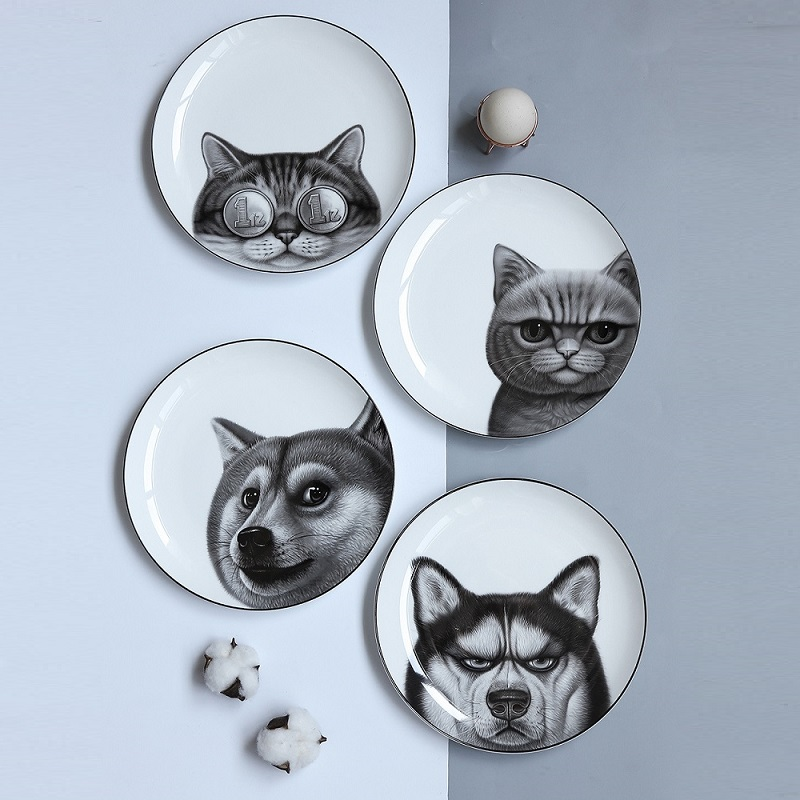 8*inch Funny 3D Dog Cat Printed Dinner Plate Home Decoration Bone China Steak Cake Dishes Fruit Ceramic Kitchen Plates Container