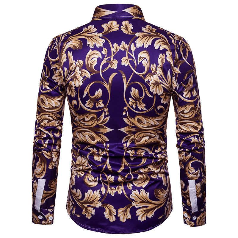 Camisa con estampado de flores doradas de lujo para hombre de 2018 a estrenar, camisa de vestir de manga larga ajustada, estilo barroco, camisa Casual homme