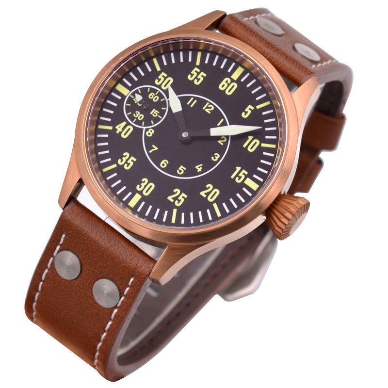 43mm Corgeut Watch Fashion Bronze Case Luminous Mens Mechanical WATCH Seagull ST3600 6497 casual Sapphire Glass цена и фото
