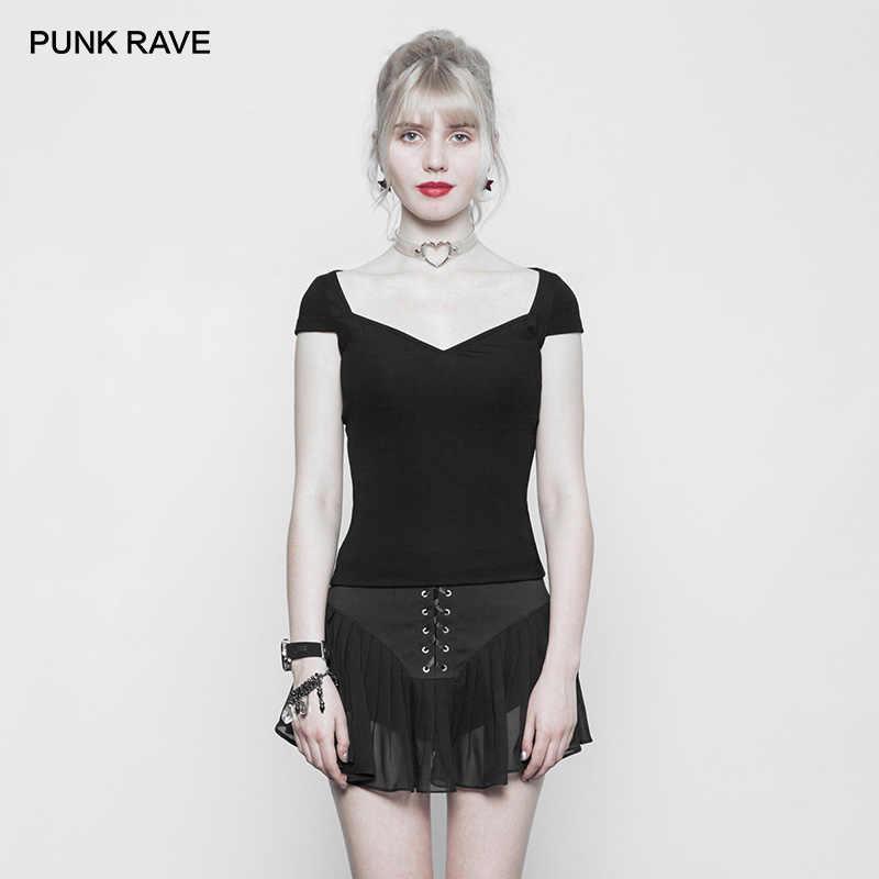 PUNK CUỒNG Mới Gothic nữ Đen Lớn Cổ Chặt Đan TEE Áo Thun Nữ Tay Ngắn Phong Cách Punk Bông Tai Kẹp Đơn Giản Gợi Cảm dạo phố