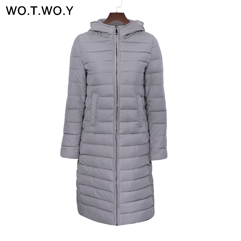 WOTWOY Cotton Padded Women Winter Jacket Hooded Long Parka Coats 2017 Female Warm Winter Coat Outwear Casual Slim Down Jackets women elegant winter warm long coat down padded jacket slim fur collar hooded parka coats 2017 female slim long parka with belt
