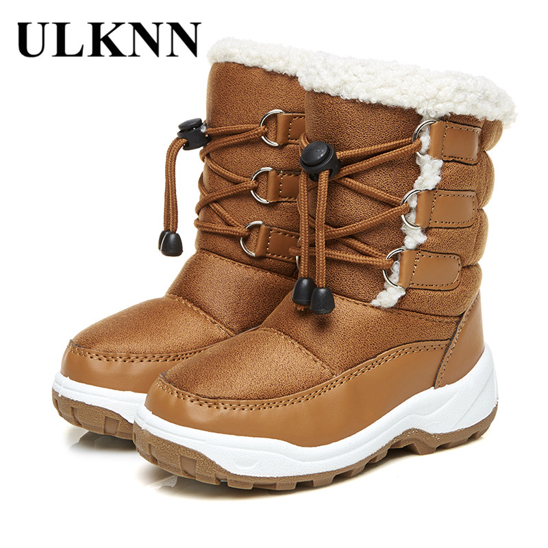 купить ULKNN Girls Boys Winter Boots Kids Girls Snow Shoes For Boy Children Boots Elastic band Plush Fur Warm Round toe bota infantil по цене 1355.19 рублей