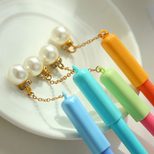 4pcs Lovely pearl pendant pen ballpoint Blue color gel ink pens for writing Stationery Office accessories School student A6891 6pcs novelty capsule ballpoint pen cute vitamin pill blue color ink pens for writing stationery office school accessories a6205