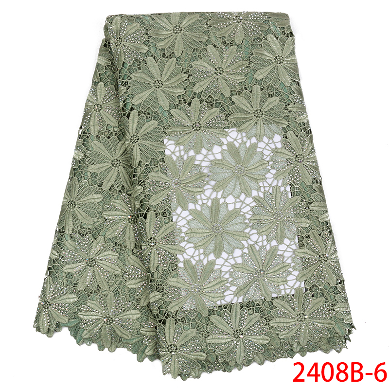 2019 High Quality African Nigerian Guipure Lace Cord Fabric with Stones Water Soluble Lace Fabric for