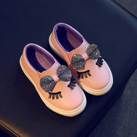Girls sneakers spring 2018 new toddler children's baby white bowknot glitter casual soft flat shoes kids chaussure enfant