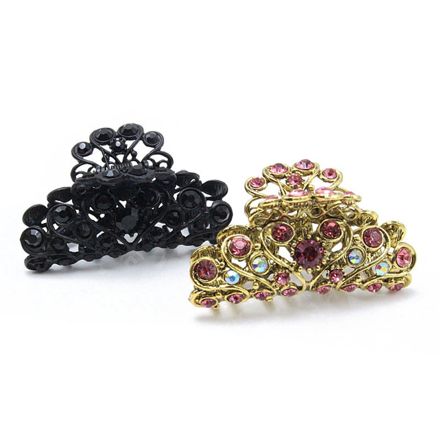 Fashion Vintage Crab Hair Clip Hair Ornament Rhinestone Crystal Metal New Hair  Claw Clip for women Jewelry 8 Colors Available 7fe18c7547ef