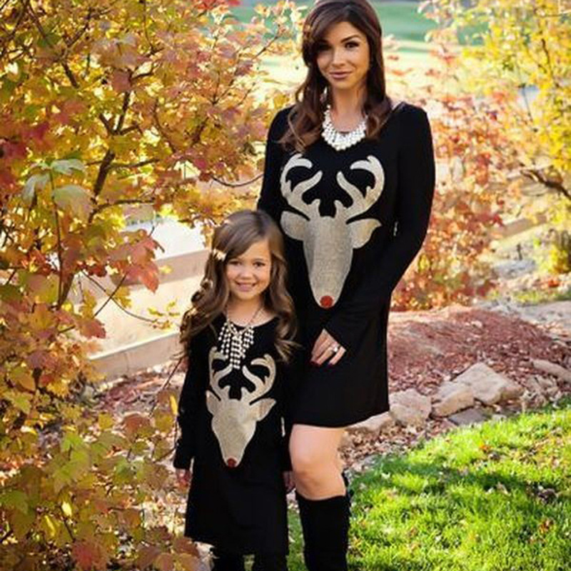 new fashion Mother Daughter Dresses Family cartoon Deer pattern solid color Clothes For Mother And Daughter Outfits family Dress