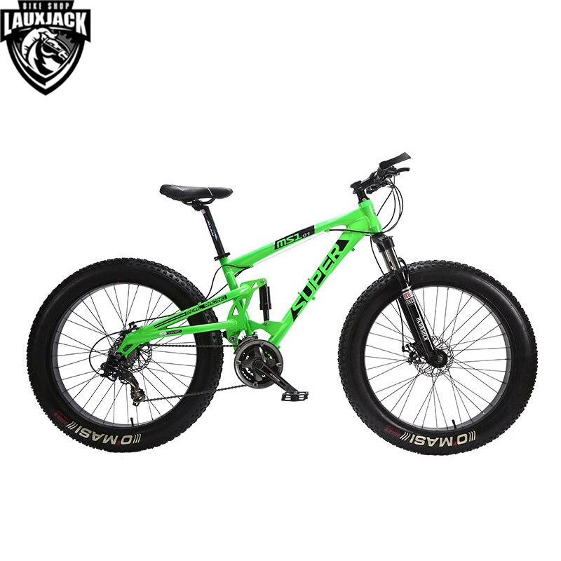 SUPER Горный двухподвесный велосипед алюминиевая рама 24 скорости Shimano механические дисковые тормоза 26x4.0 колеса Fat Bike