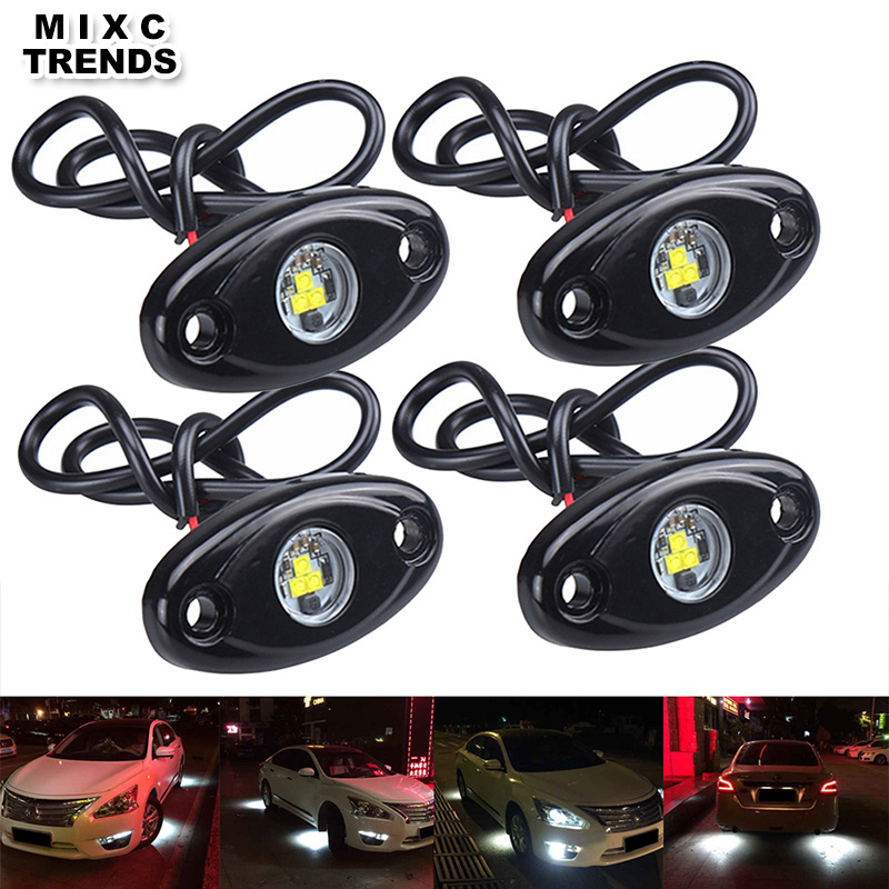 MIXC TRENDS 4Pcs 9W Under body led Rock Lamp Under LED Car Chassis Decorative light Waterproof Car Exterior Decoration lights