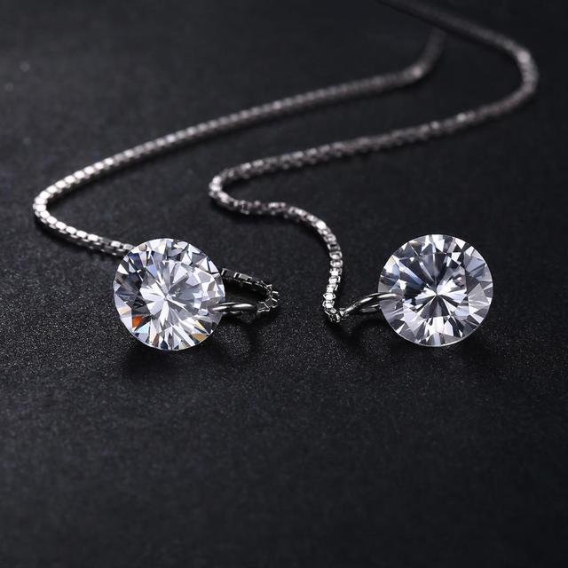 925 Sterling Silver Cubic Zirconia CZ Long Drop Earrings For Women