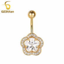 Big Crystal Flower Earrings for Navel Piercing Gold Surgical Steel Body Jewelry Piercing de umbigo Summer Jewelry(China)
