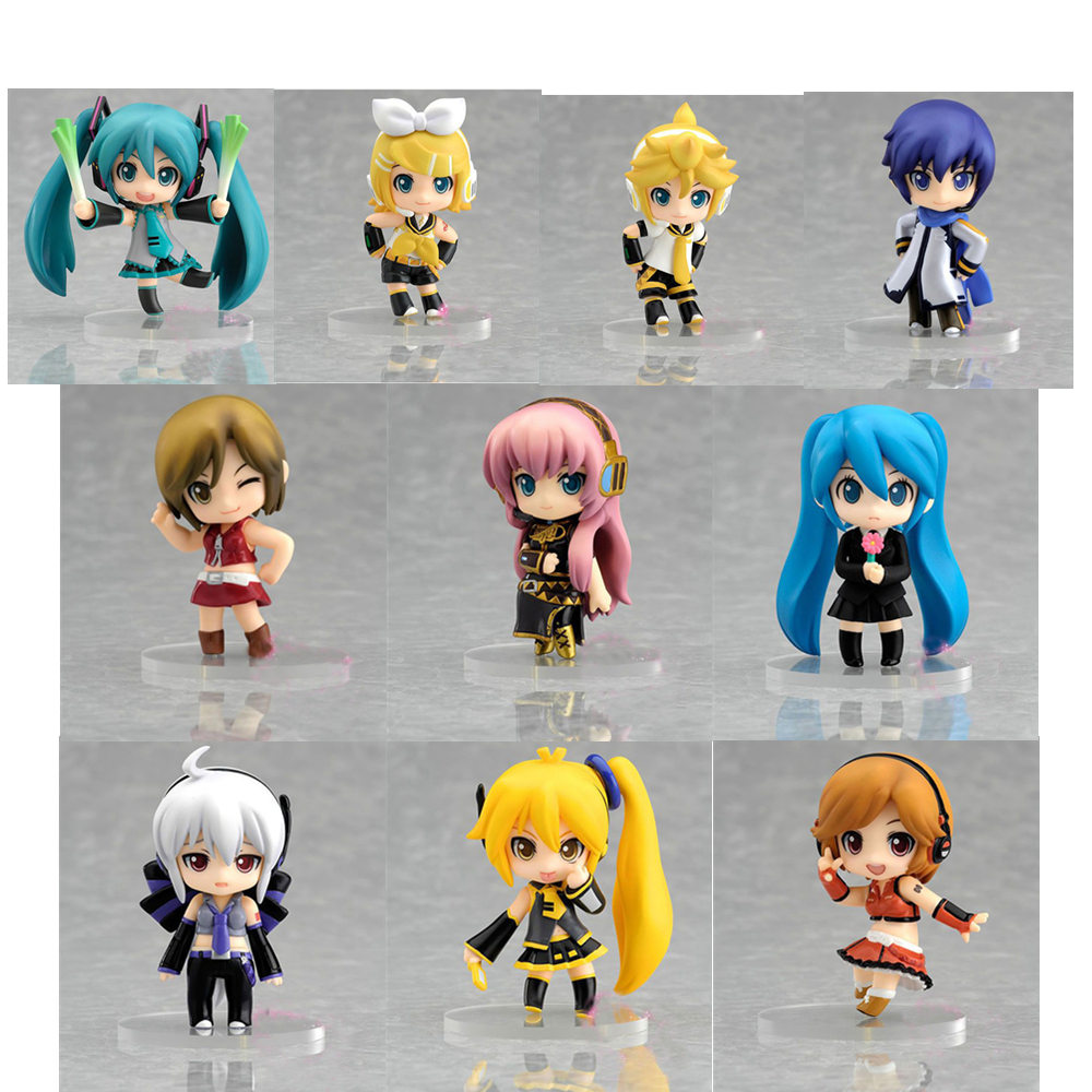 10pcs/Set Hatsune Miku Minifigures PVC Anime Collectible Model Action Figure Toy Doll 18CM Height Nendoroid for Kids cute 10cm nendoroid hatsune miku mid autumn miku pvc action figure collection model toy doll christmas birthday gift with box