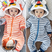 Lemonmiyu Baby Warm Rompers Cartoon Animal Hooded Newborn Infant Kids Outfits One Piece Striped Thick Zipper Casual Jumpsuits