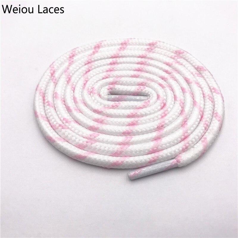 Weiou 0,45 см круглые полосатые спортивные кружевные черно-белые шнурки, толстые круглые шнурки в горошек, походные шнурки для дорки, обувь для папы, кроссовки - Цвет: 2543White-Pink
