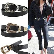 Женский черный кожаный ковбойский поясной ремень с металлической пряжкой Новые популярные ремни для женщин роскошный дизайнерский бренд
