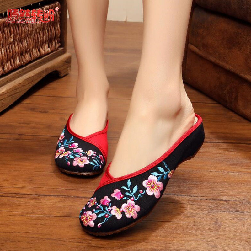 Vintage Sequin Peach Blossom Slipper Outdoor Slip On Mules Old Peking Retro Embroidered Cloth Shoes Woman Round Toe Slides 35-41 vintage embroidery women flats chinese floral canvas embroidered shoes national old beijing cloth single dance soft flats