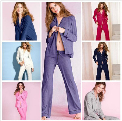 4360d280de Victoria cotton pajama set the sleepover knit pajama full-length panty VS  embroidery on pocket pajama set victoria lounge