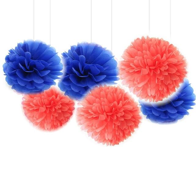 blumen aus pompons, set von 6 korallen marineblau seidenpapier pompons blumen balls, Design ideen